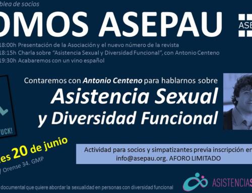 """Charla sobre """"Asistencia Sexual y Diversidad Funcional"""" en ASESPAU"""