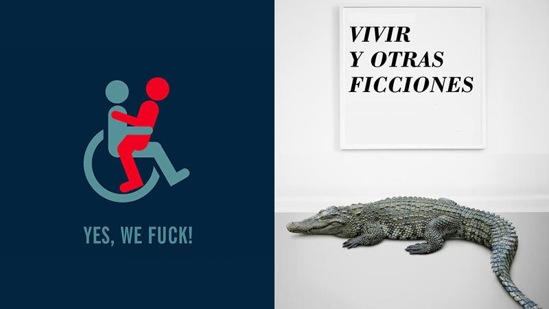 Logotipos de 'Yes, we fuck!' y 'Vivir y otras ficciones'